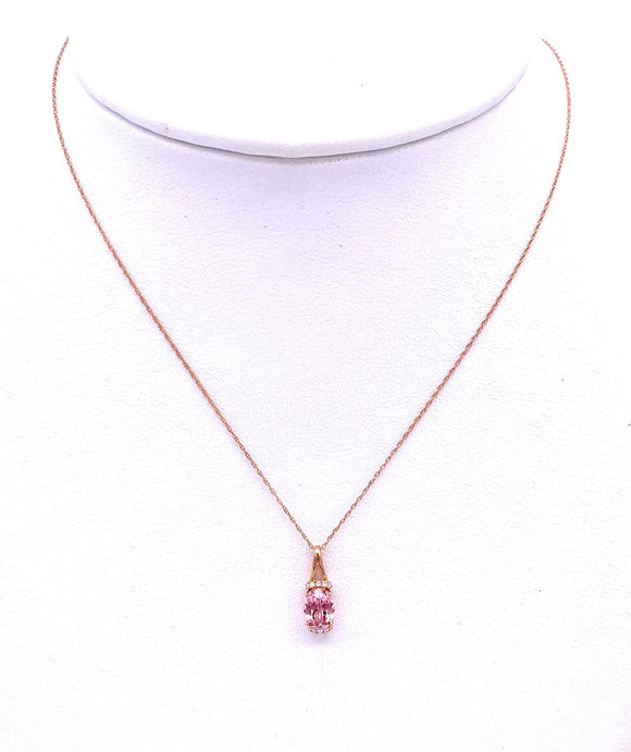 Oval shaped Lotus Garnet Necklace in Rose Gold F368P73904
