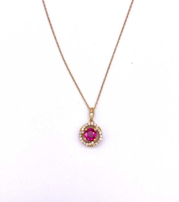 Round Ruby Necklace With Diamonds F368PCC082R23CI-LH