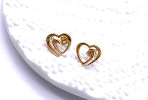 Yellow Gold Free Form Heart Design Earrings F704VKE096200