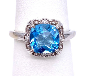 Cushion Cut Blue Topaz Ring in Ornate Mounting C096R0021
