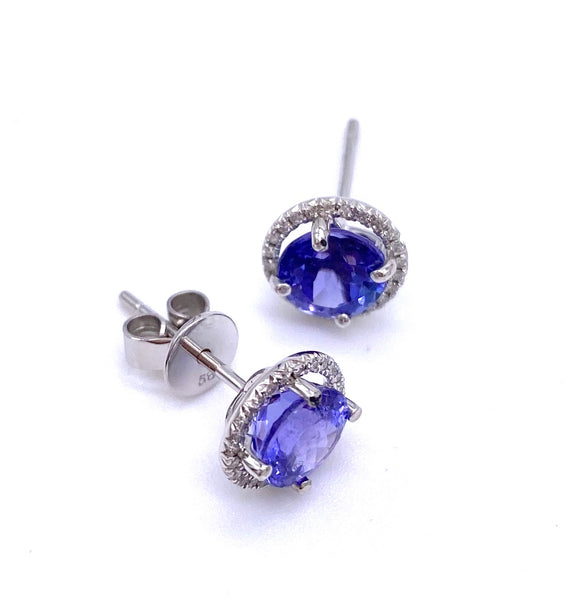 Lovely Round Tanzanite and Diamond Earrings A093KE2709W2