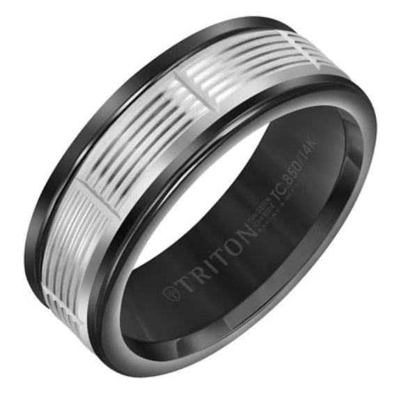 Triton Tungsten Carbide and White Gold Wedding Band D00511-2407BlackWhite