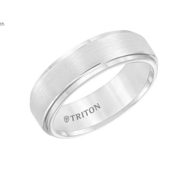 White Triton Tungsten Carbide Wedding Band D00511-2097