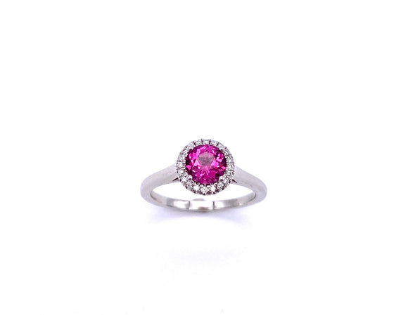 Round Rhodolite Garnet and Diamond Ring C038LCK10260
