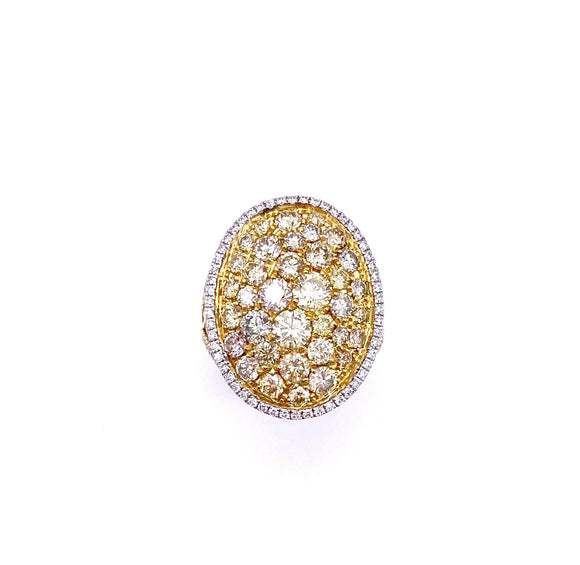 Yellow and White Pave Diamond Ring A348OB25