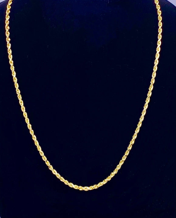 22 inch Gold Rope Chain 10K Yellow Gold F3125265
