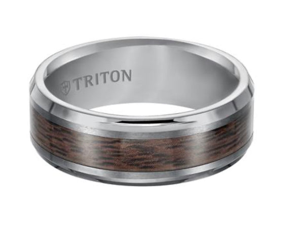 Triton Tungsten Carbide Wedding Band With Wood Finish D00511-2799