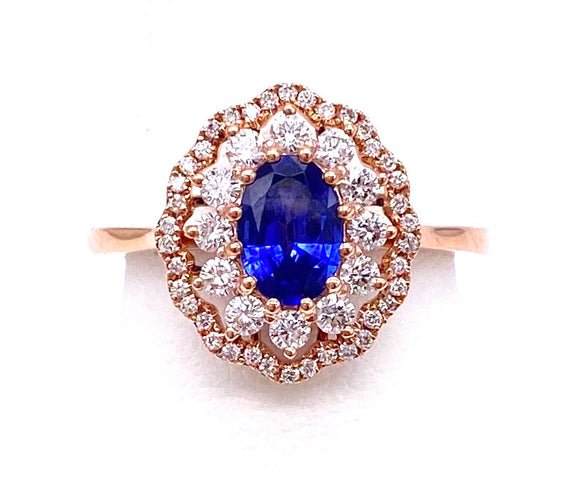 Sapphire and Diamond Ring in Rose Gold A317ZR2012