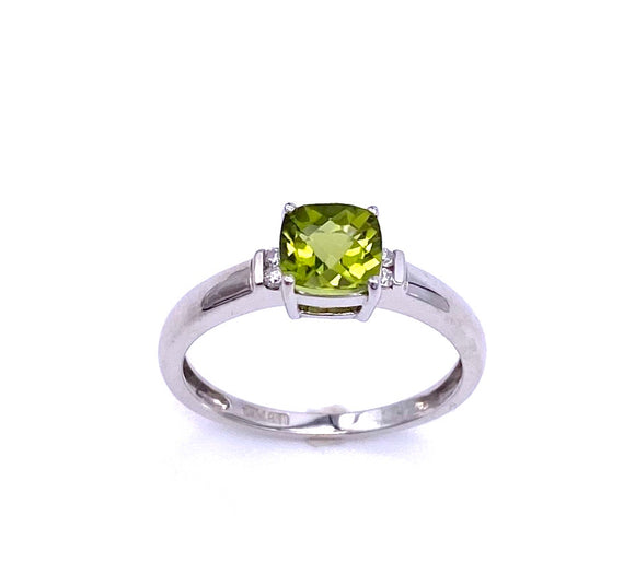Cushion Cut Peridot and Diamond Ring C096R0027