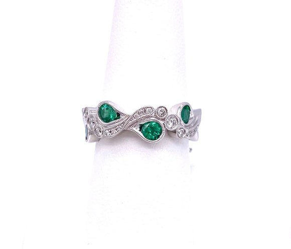 Free Form Style Emerald and Diamond Ring A093NR1051-3
