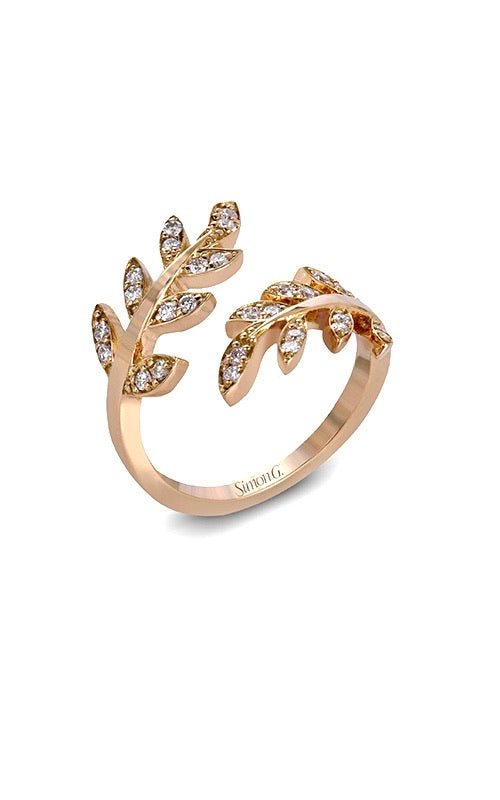 Simon G Leaf Ring in Rose Gold A846LP2309