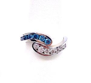 Blue and White Diamond Bypass Ring A604R868646871