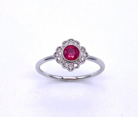 Round Ruby and Diamond Mele Ring C087RM3921W