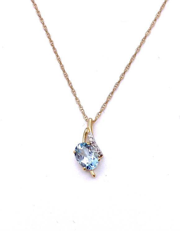 Oval Aquamarine Necklace in Yellow Gold F050997/789409