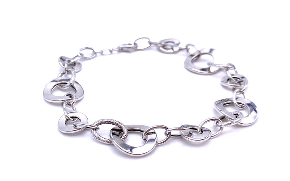 White Gold Circle Links Bracelet F312LF417