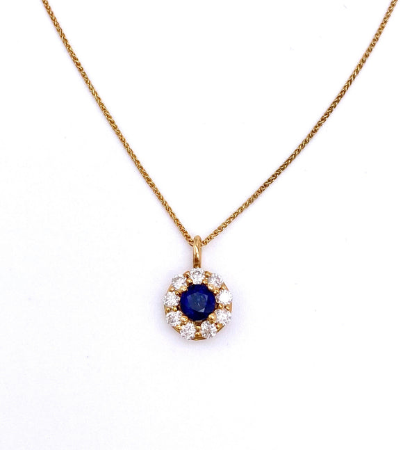 Round Sapphire and Diamond Necklace F245FP4066SYB