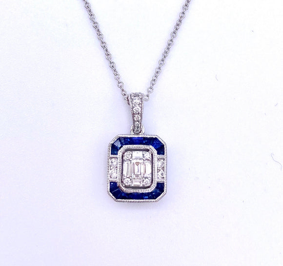 Art Deco Inspired Sapphire and Diamond Necklace F317ZP881