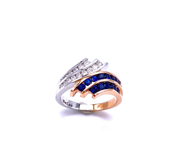 Blue Sapphire and Diamond Ring in Rose Gold  C604R8648WP