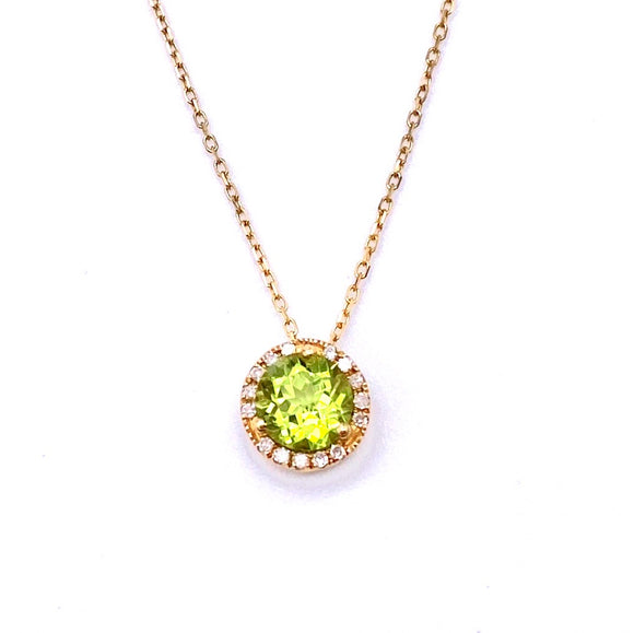 Peridot Necklace with Diamond Accents F223P7904PD