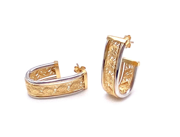"Two Tone ""J"" Hoop Earrings F312LE1864"