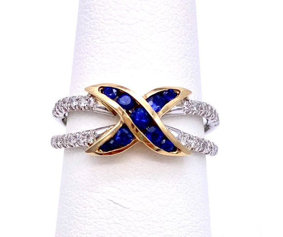 Two Tone Sapphire and Diamond Ring A604R8840WY