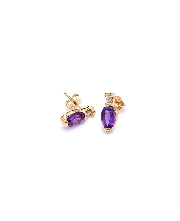 Petite Oval Amethyst Earrings in Yellow Gold. F02141-101804