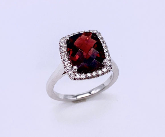 Large Checkerboard Cut Garnet Ring With Diamonds C038LC30038