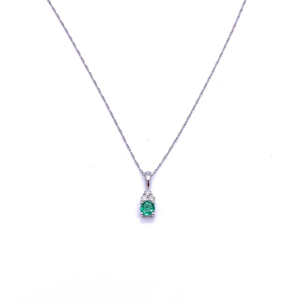 Round Emerald and Diamond Necklace F245NP707EWB