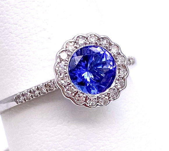 Round Tanzanite Ring With Diamond Accents C401R04305