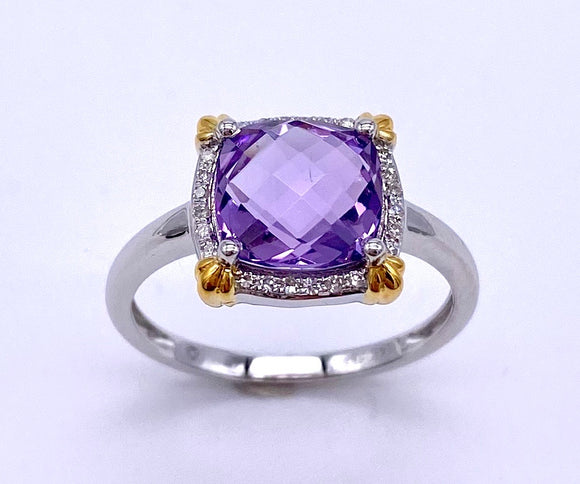 Two Tone Checkerboard Cut Amethyst Ring w/ Diamond Accents C401R04486AMW