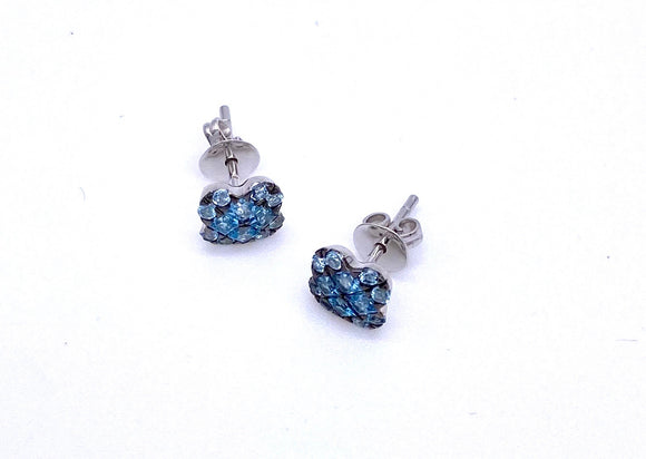 Blue Topaz Studs In Black Rhodium 14K F33B220269