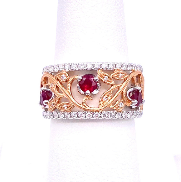 Elegant Ruby and Diamond Band Ring in Rose and White Gold A093MR1151-1