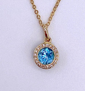 Round Blue Topaz and Diamond Necklace F401N01422BTY