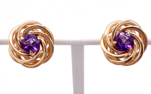Vintage Amethyst and Gold Earrings