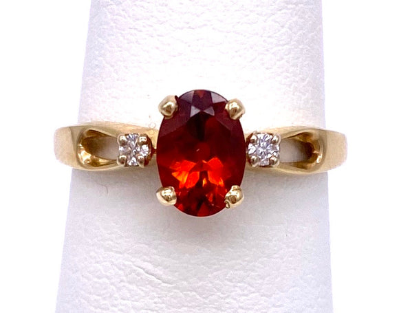 Oval Shaped Citrine Ring Orange Color W/ Diamonds C390K6829