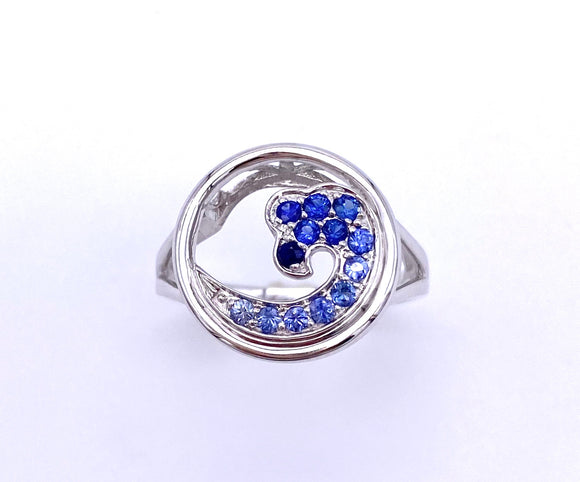 Ombré Shades of Blue Sapphire Wave Ring C368RNT093GSXUS1