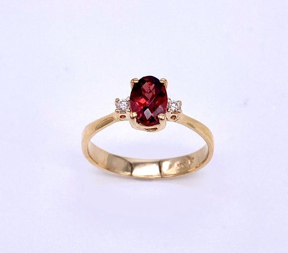 Oval Shaped Garnet Ring With Diamond Accents C070FD11644