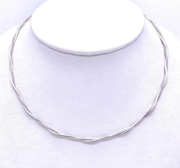 White Gold Textured Twist Necklace F345025W