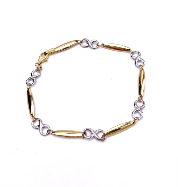 Two Tone Gold Infinity Design Bracelet F341LF281