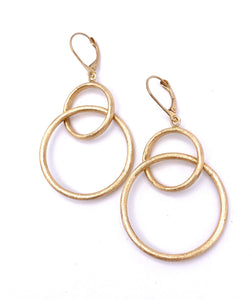Yellow Gold Double Circle Dangle Earrings F312LE825