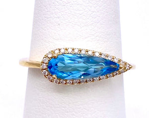 Blue Topaz Ring High Fashion Pear Shape C087RM3959