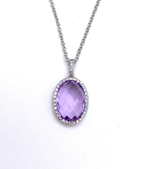 Lovely Oval Amethyst and Diamond Necklace F790SC55005095