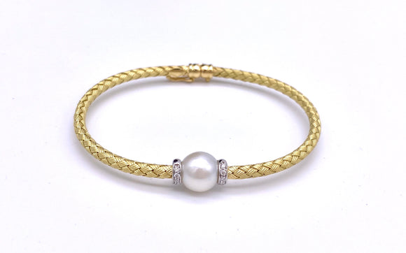Pearl, Diamond and 18K Woven Soft Bangle Bracelet A887BM6139