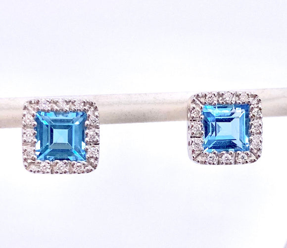Princess cut Blue Topaz and Diamond Earrings F085EG9285w44BT