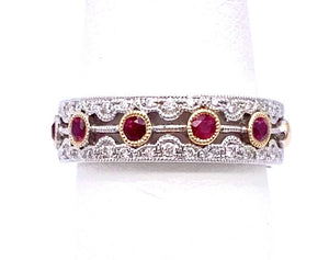 Regal Ruby and Diamond Two Tone Band Ring A093UR1218WYRB-BA