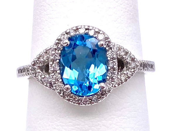 Glamorous Blue Topaz Ring W/ Diamonds C330B321367
