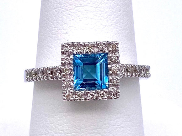 Princess Cut Blue Topaz and Diamond Ring C085LR4424W45BT