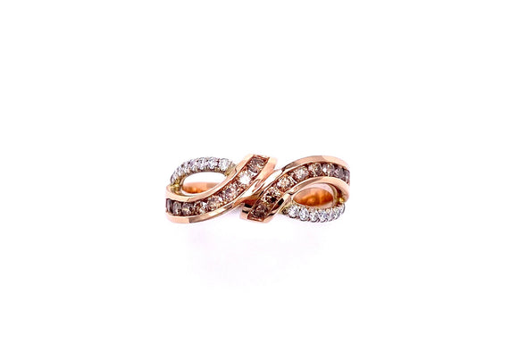 Chocolate and White Diamond Ring in Rose Gold A604R8832WP