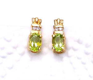 Oval Peridot Earrings in Yellow Gold F096E0555