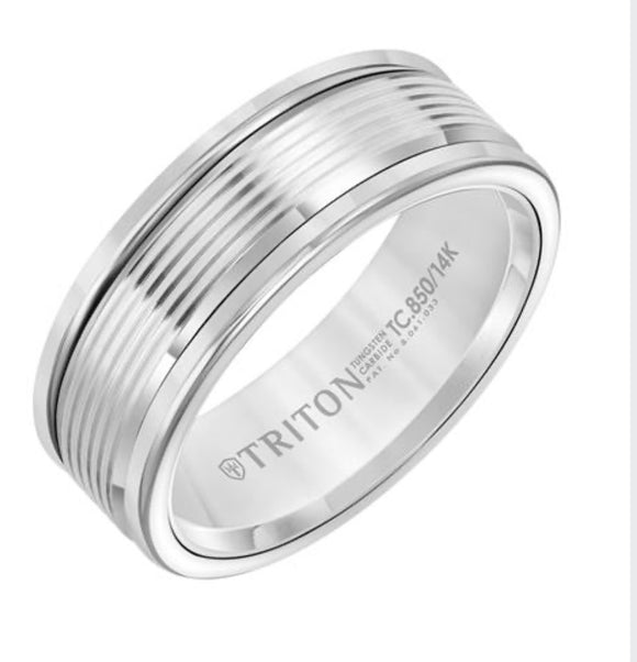White Tungsten Carbide and White Gold Triton Wedding Band D00511-2409